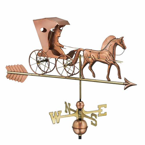 Country Doctor Weathervane With Arrow, Polished Copper
