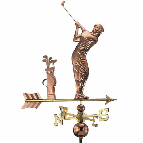 Golfer Weathervane, Polished Copper