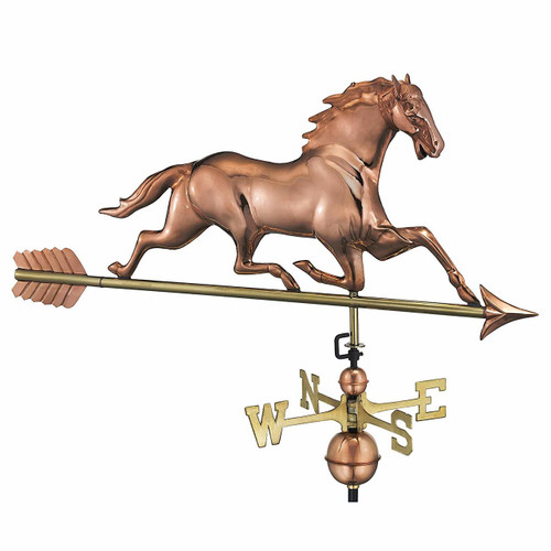 Horse Weathervane With Arrow, Polished Copper