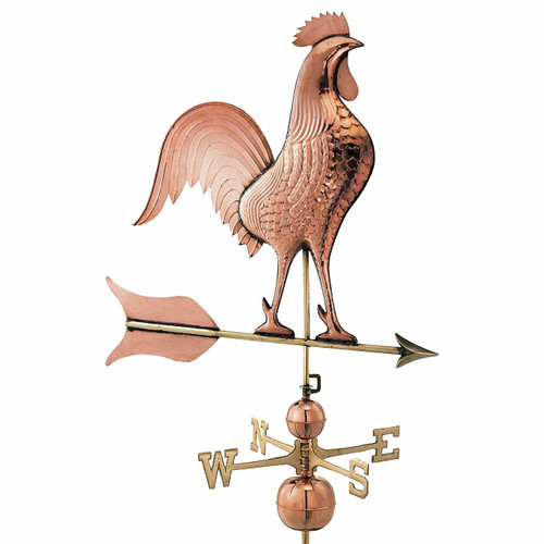 Barn Rooster Estate Weathervane, Polished Copper