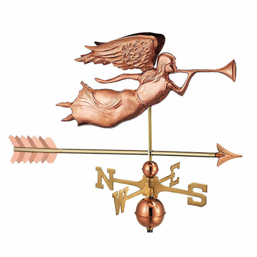 Angel Weathervane With Arrow, Polished Copper