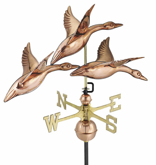 3 Geese in Flight Weathervane, Polished Copper