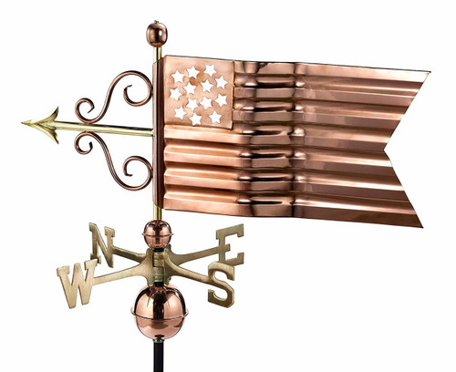 American Flag Weathervane, Polished Copper