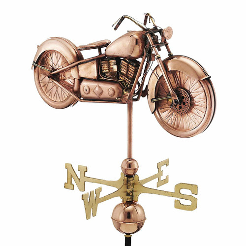 Motorcycle Weathervane, Polished Copper