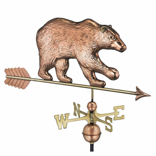 Bear Weathervane with Arrow, Polished Copper