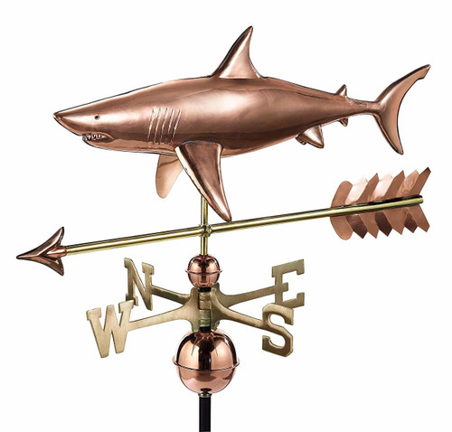 Shark with Arrow Weathervane, Polished Copper