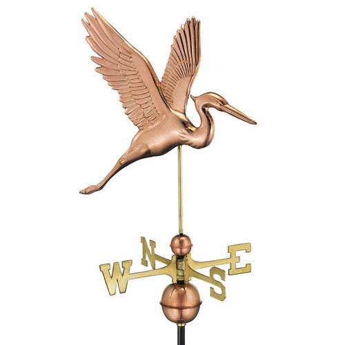 Graceful Blue Heron Weathervane, Polished Copper