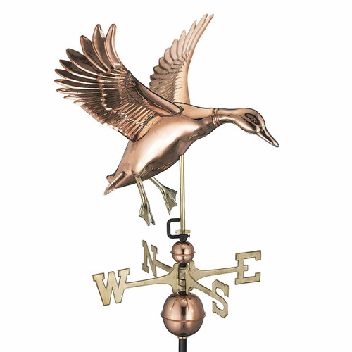 Landing Duck Weathervane, Polished Copper
