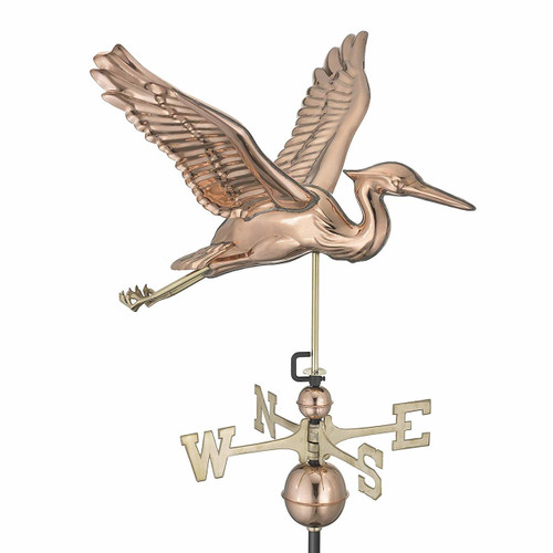 Blue Heron Weathervane, Polished Copper