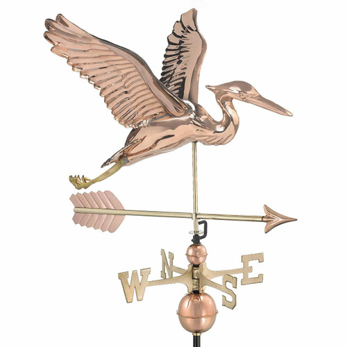 Blue Heron with Arrow Weathervane, Polished Copper