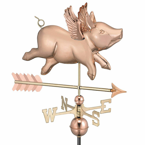 Flying Pig with Arrow Weathervane, Polished Copper