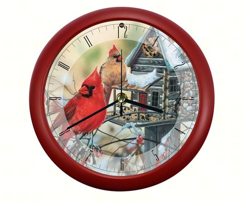 Rustic Cardinals Sound Clock, 8 Inch