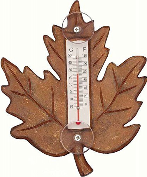 Stained Maple Leaf Small Window Thermometer