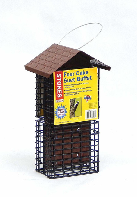 Four Cake Suet Buffet Bird Feeder with Metal Roof