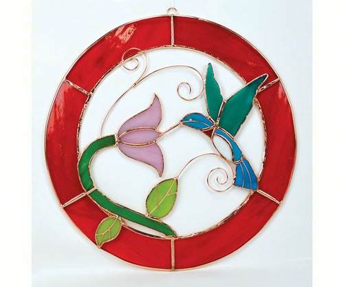 Large Hummingbird Red Frame Circle Window Panel