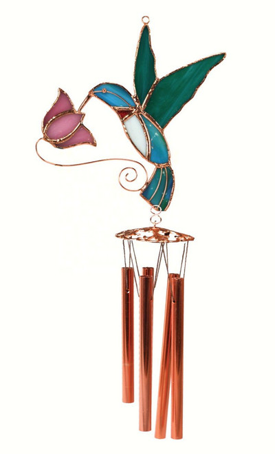 Hummingbird with Pink Flower Wind Chime