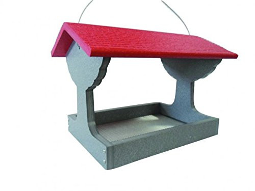 Green Solutions Recycled Fly Thru Feeder With Red Roof