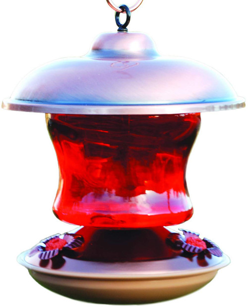 Copper Color Hummingbird Feeder, Ruby Glass