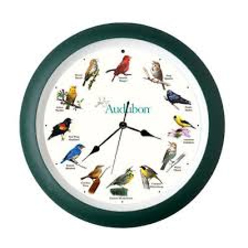 "Audubon Singing Clock, 8"", Green Frame"