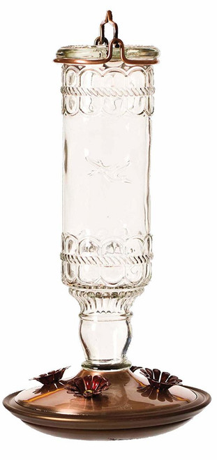 Antique Bottle 10-Ounce Glass Hummingbird Feeder, Clear