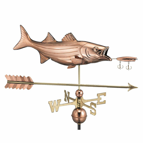 Bass with Lure and Arrow Weathervane