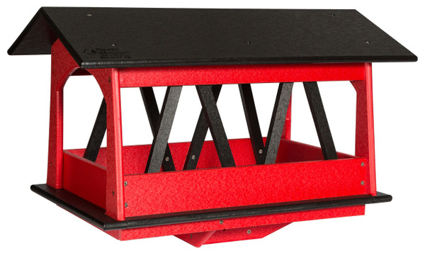 Urban Nature Store Covered Bridge Feeder, Black and Red