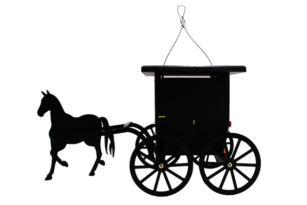 Buggy Wren House With Horse, Black