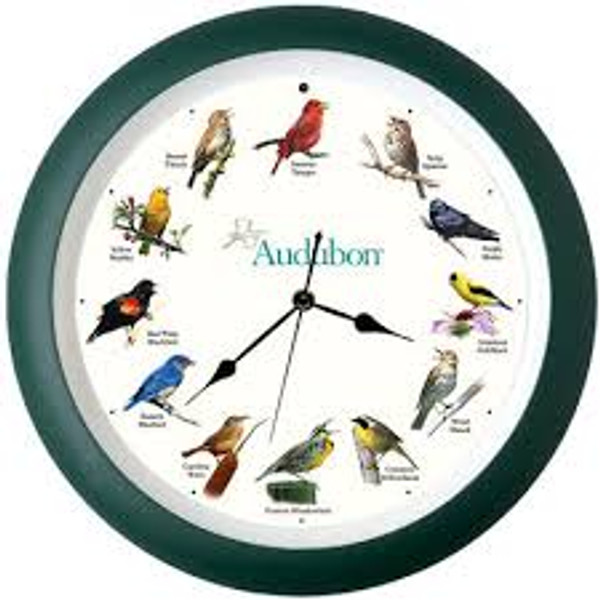 "Audubon Singing Clock, 13"", Green Frame"