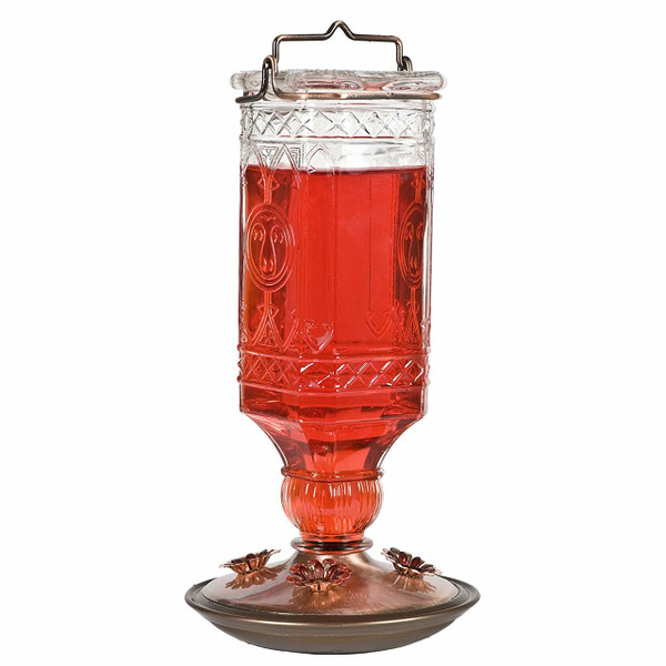 Glass Antique Bottle Hummingbird Feeder, Clear