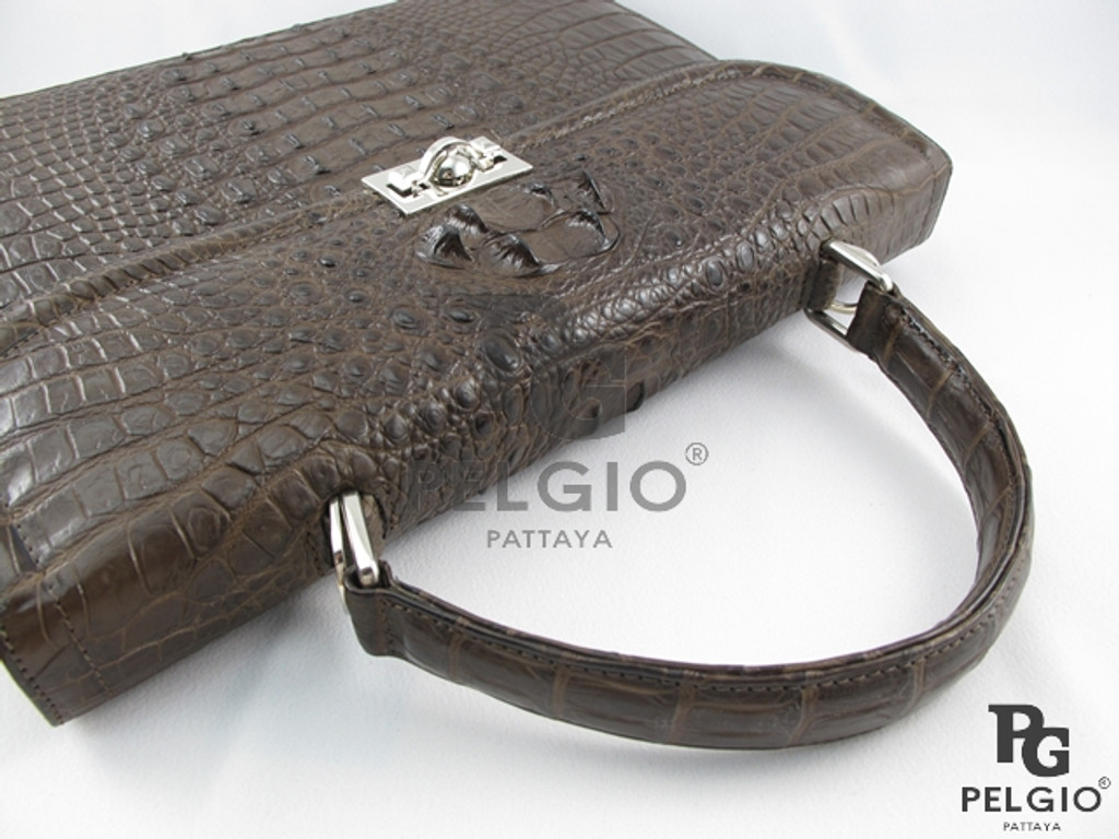 Genuine Crocodile Hornback Luxury Briefcase Brown [CRHBF001BR01M]