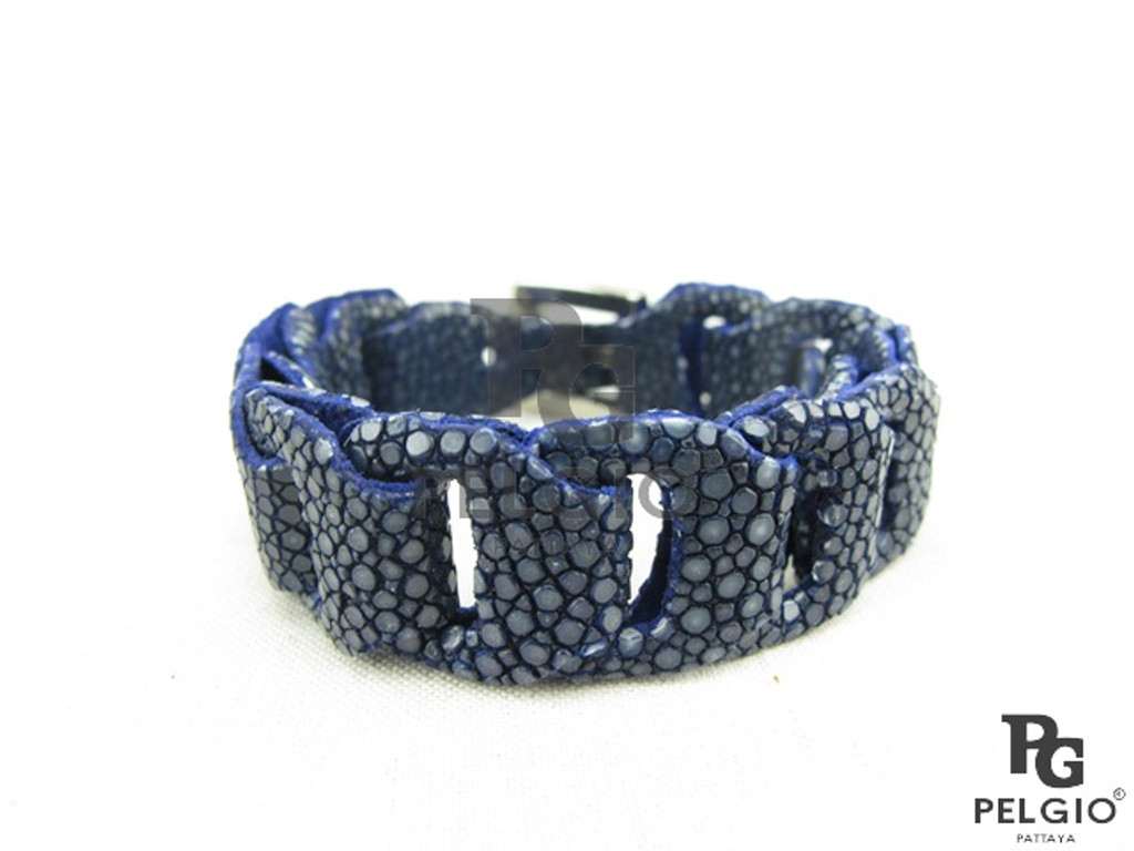 Genuine Polished Stingray Skin Bracelet Blue [SRBL012BU01P]