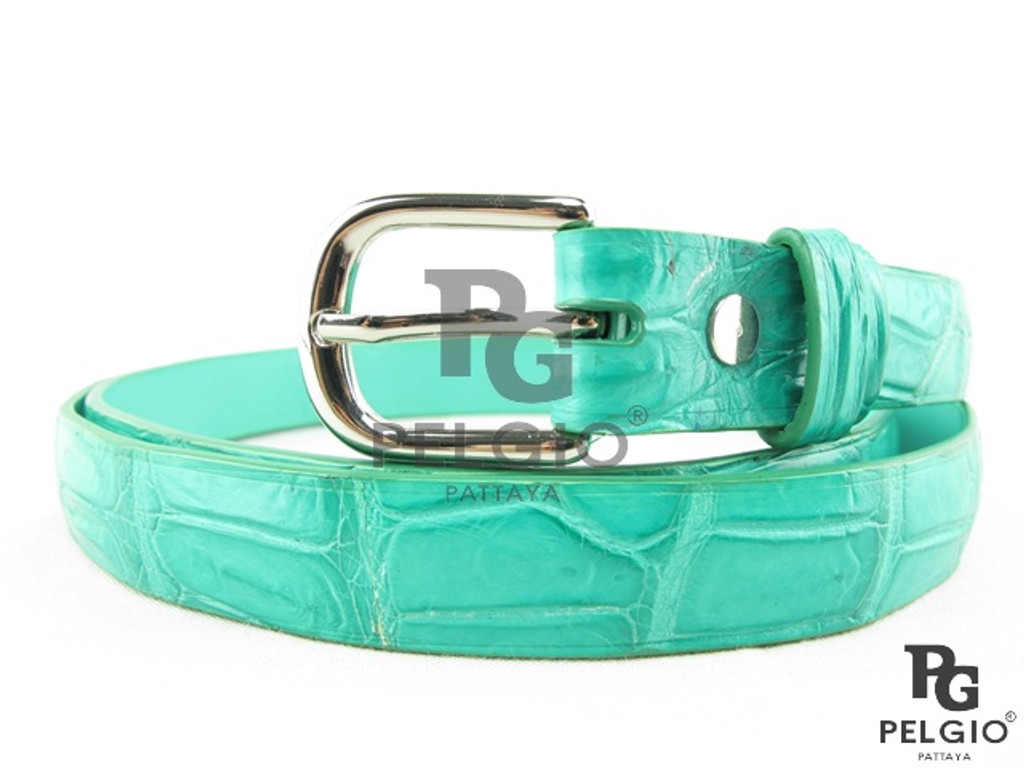 "Genuine Crocodile Belly Skin Women's Belt 40"" Green [CRB009GN04G]"