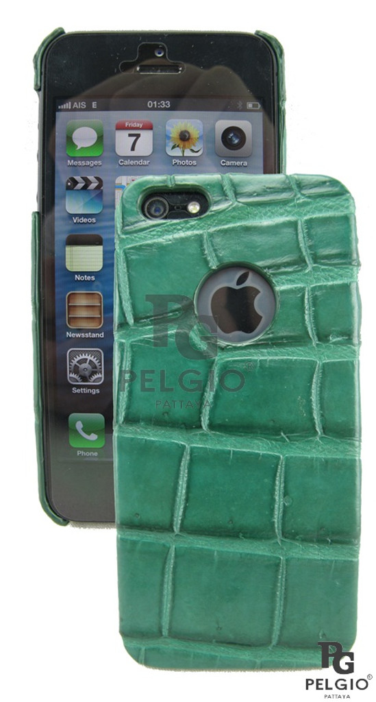 Genuine Crocodile Belly Skin iPhone 5 5S Hard Case Green [CRPC003GN03M]