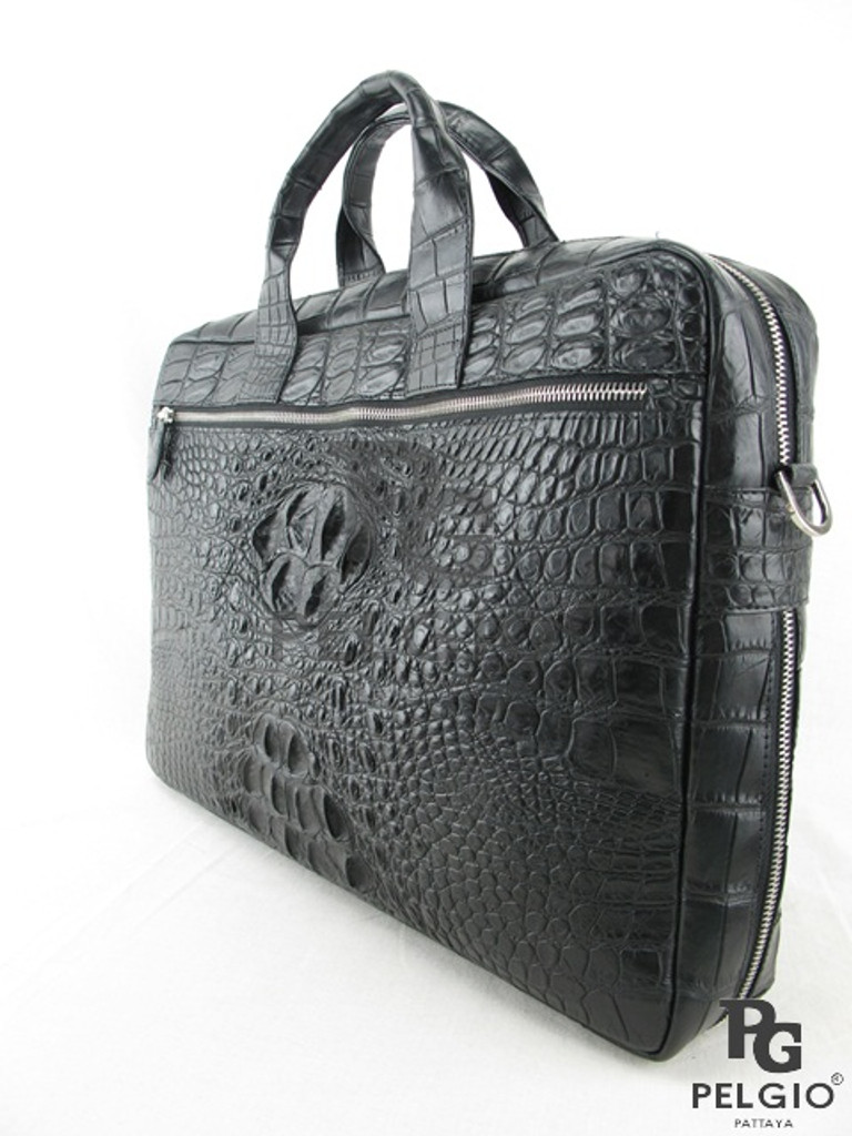 Genuine Crocodile Hornback Luxury Laptop Briefcase Black [CRHBF002BK01M]