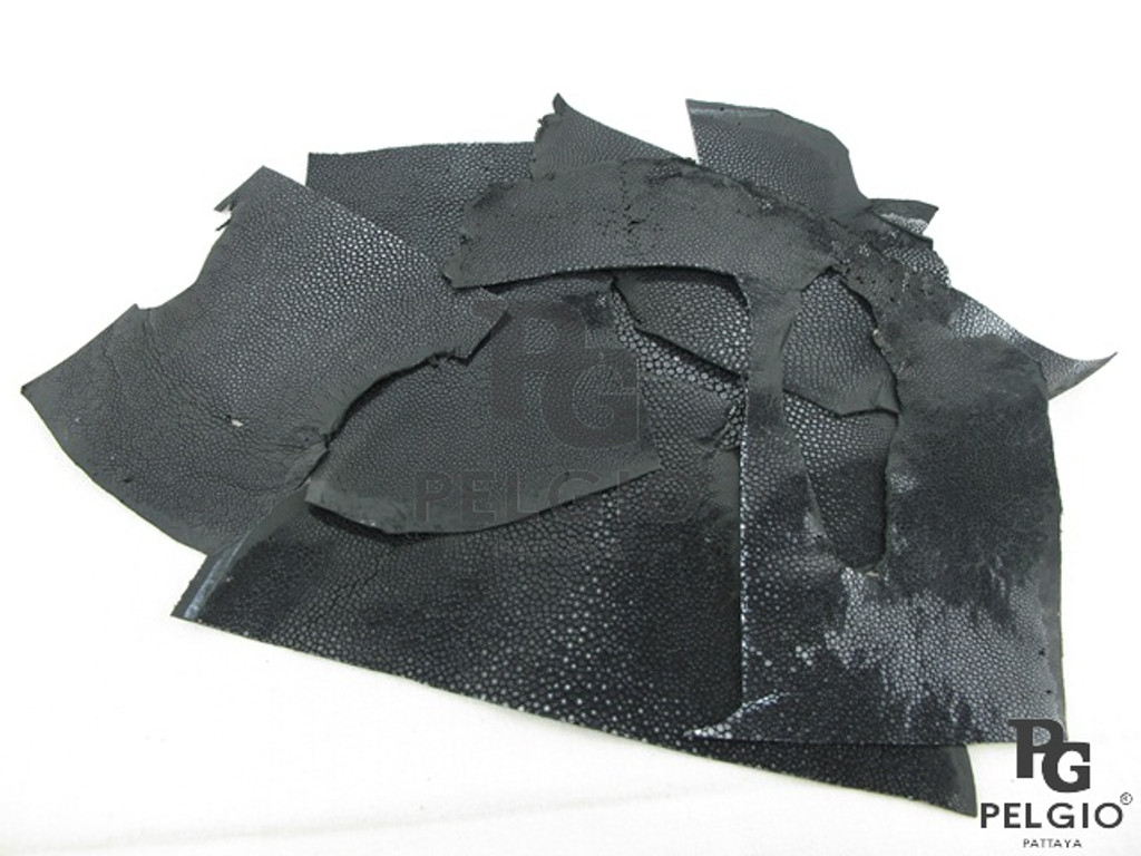 Genuine Polished Stingray Skin Hide Scraps 100 g. Black [8859322405961]