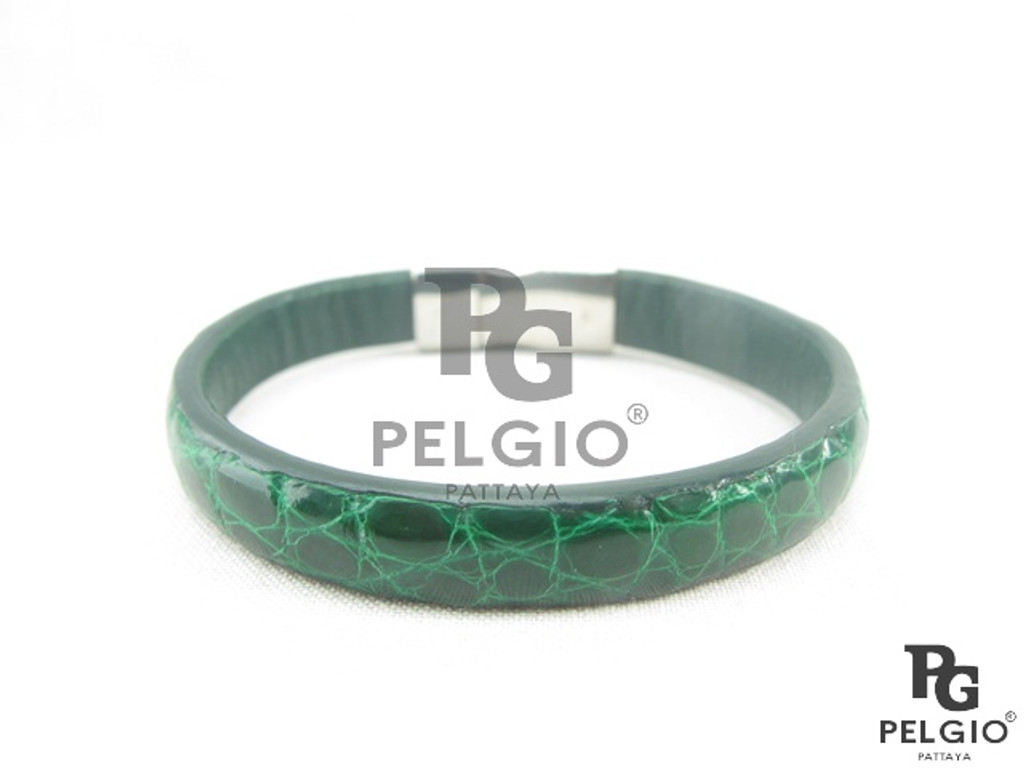 Genuine Crocodile Skin Bracelet Green [8859322415342]