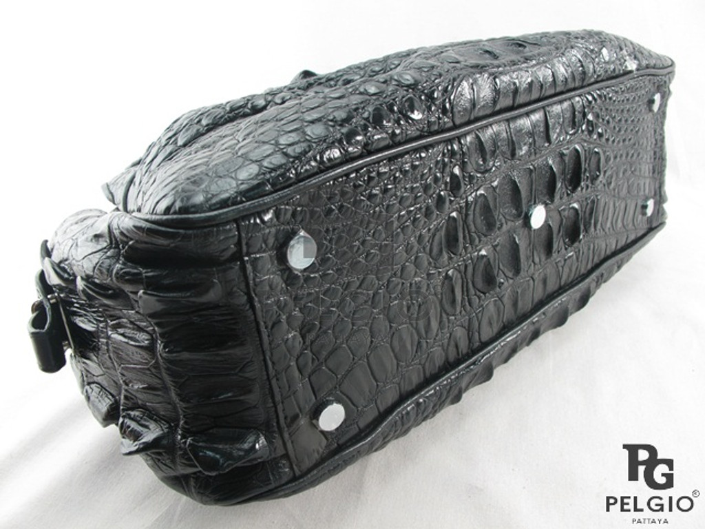 Genuine Crocodile Hornback Leather Hobo Handbag Black [CRHH056BK01M]