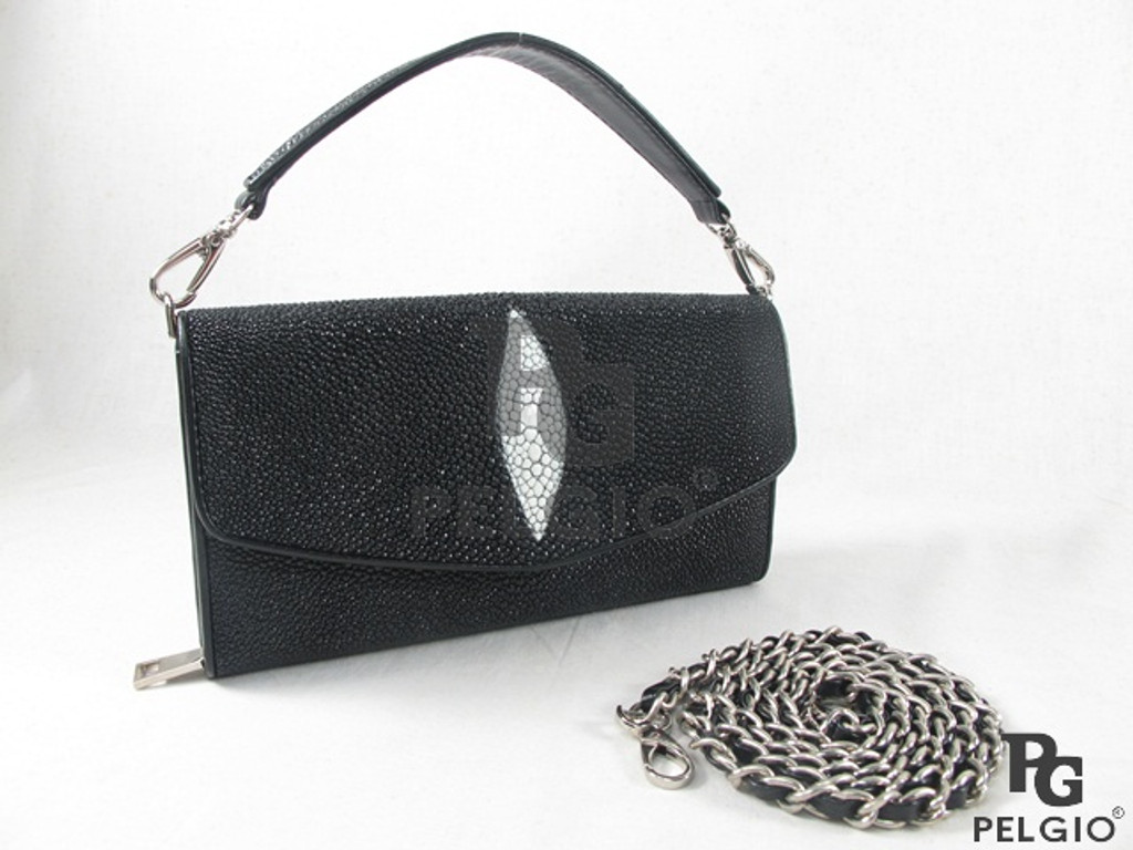 Genuine Stingray Skin Leather Clutch & Shoulder Bag Black [8859322408887]
