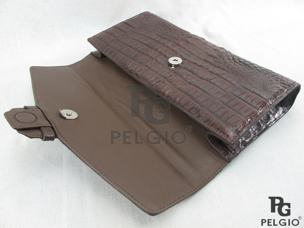 Genuine Caiman Crocodile Skin Clutch & Shoulder Bag Brown [8859322413171]