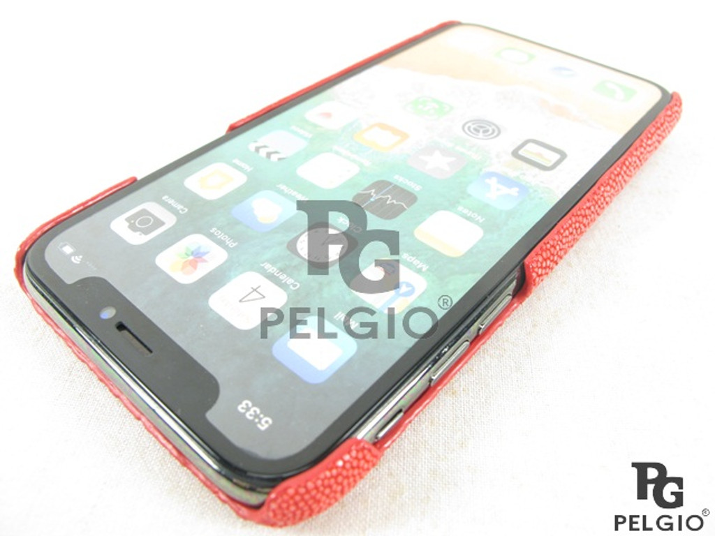 Genuine Polished Stingray Skin Apple iPhone X 10 Hard Case Carmine Red [8859322420629]