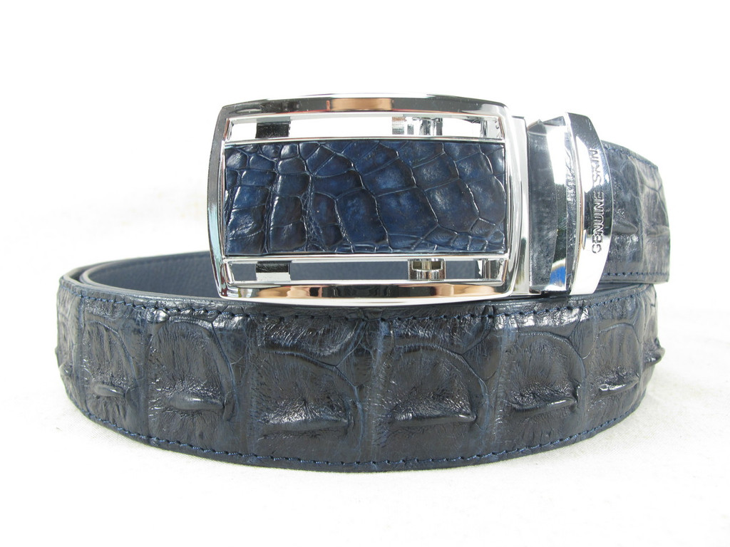 "Genuine Crocodile Single Hornback Skin Belt 46"" Cobalt Blue [8859322420704]"