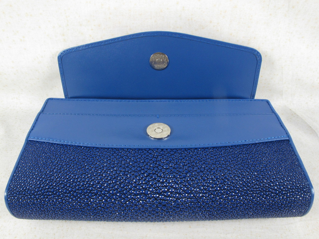 Genuine Stingray Skin Leather Clutch & Shoulder Bag Cobalt Blue [8859322421770]