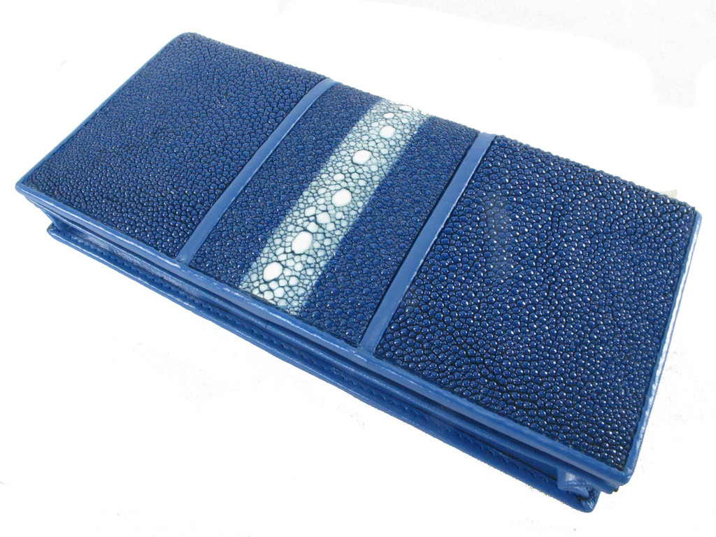 Genuine Row Stingray Skin Checkbook Cobalt Blue [SRCB0001-002E1HBU04D-NCWU2]