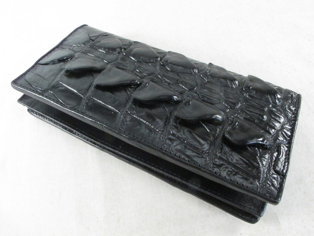 Genuine Crocodile Tail Skin Checkbook Long Wallet Black [CRCB0001-004FT2HBK01M-BCWL1]