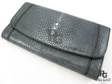 Genuine Polished Stingray Skin Clutch Wallet Black [SRL003BK01P]