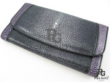 Genuine Polished Stingray Skin Clutch Wallet Black & Violet [SRL003X006P]