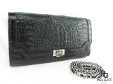 Genuine Caiman Crocodile Skin Clutch & Shoulder Bag Black [CMMB023BK01]
