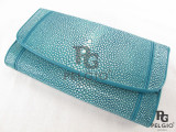 Genuine Polished Stingray Skin Clutch Wallet Blue [SRL003BU02P]