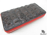 Genuine Crocodile Backbone Skin Zip Around Wallet Brown with Red Interior [CRCL0003-004FM1HBR01M-VCWR3-1]