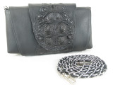 Genuine Alligator Skin Clutch & Shoulder Bag Black [8859322420377]